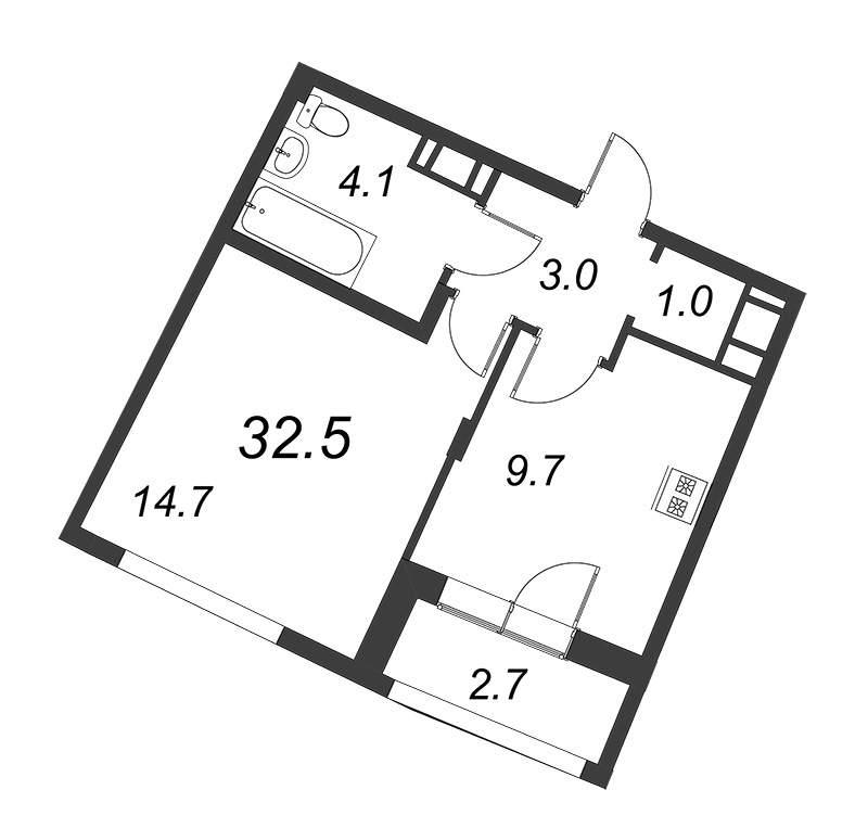 Продажа 1-комнатной новостройки, Санкт-Петербург, Комендантский проспект,  д.1