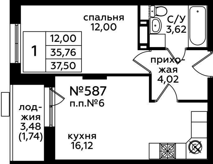Продажа 1-комнатной новостройки, Москва, Нововатутинская 6-я улица,  д.3