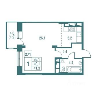 Продажа 1-комнатной квартиры, Одинцово, Северная улица,  д.13