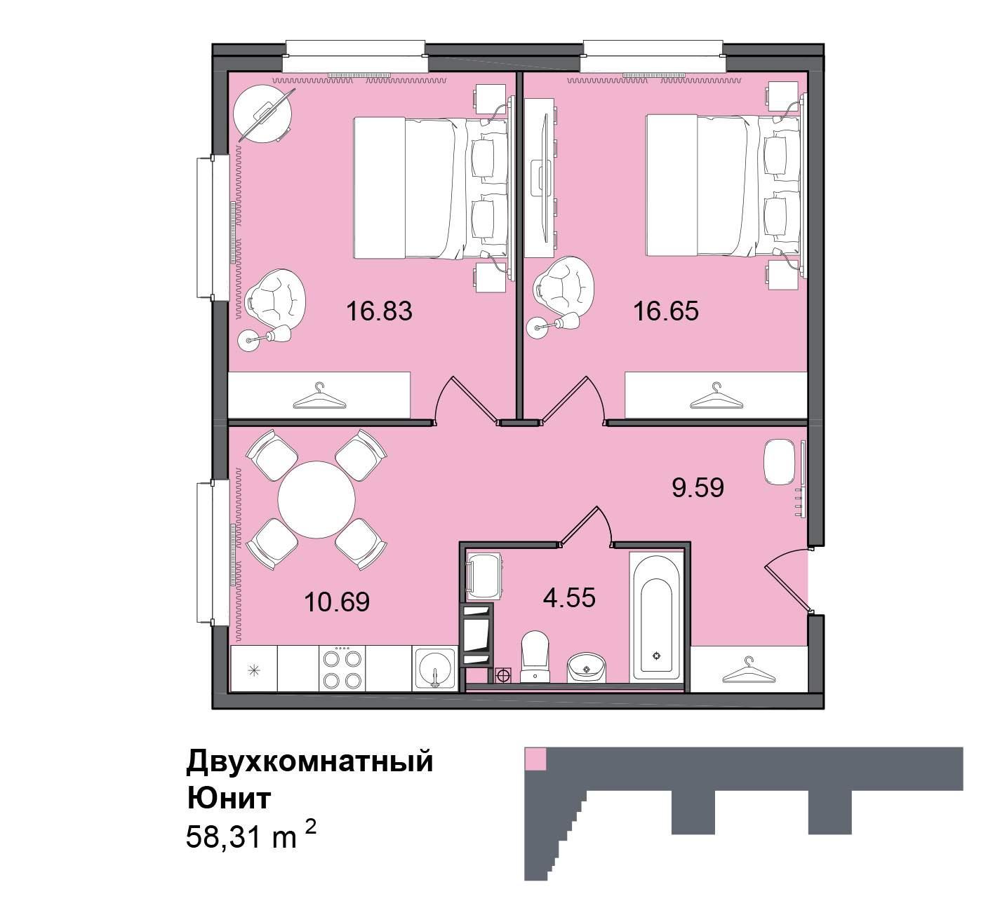 Продажа 2-комнатной новостройки, Санкт-Петербург, Витебский проспект,  д.101к1